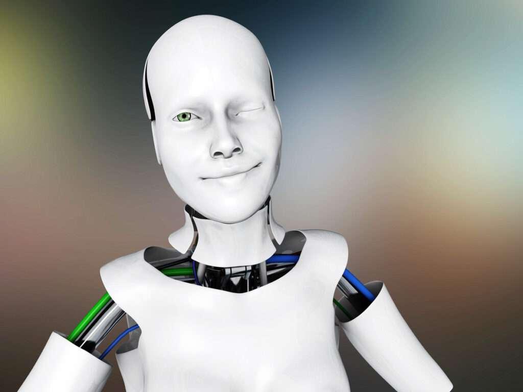 Imagen de un robot fingiendo estar contento.  La inteligencia artificial y los sentimientos