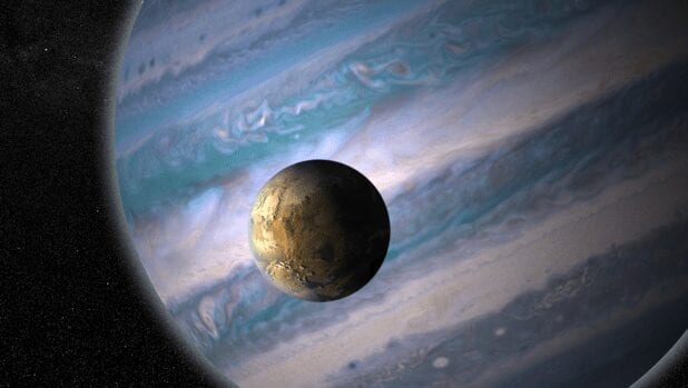 planeta gigante y estrella enana roja