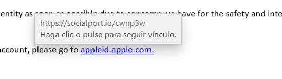 como identificar un virus de pishing: mover el cursor para ver la dirección URL