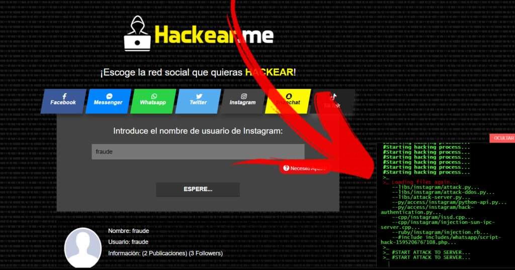 hackear.me es un timo, código falso para dar sensación de realismo