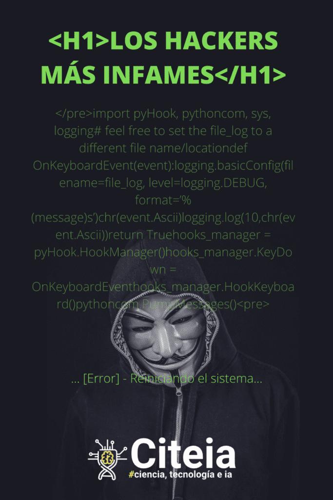 los hackers más infames. Imagen con un código de keylogger haciendo ambientación para el artículo.