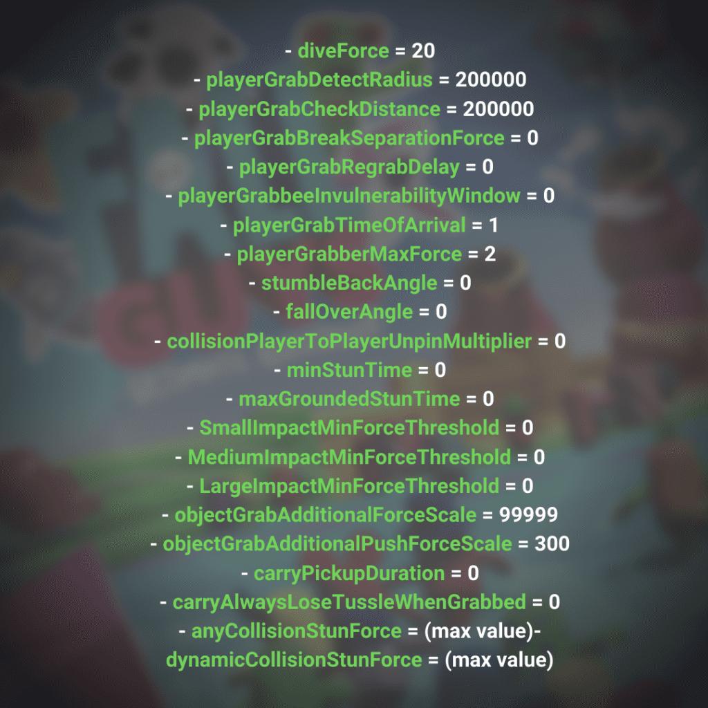 Parámetros para ser Tank, hack de Fall guys