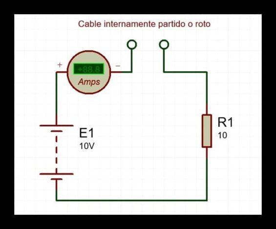 circuito con falla de cable partido