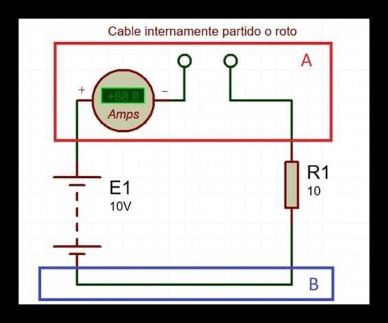 Análisis de circuito con cable partido o roto