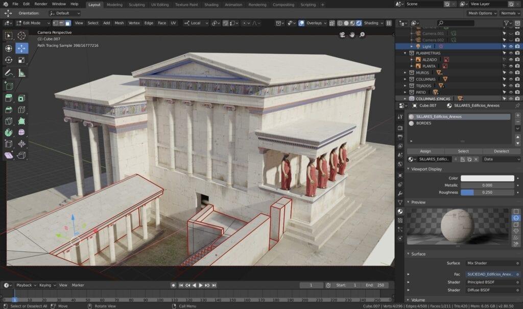 Ejemplo de un proyecto avanzado con el programa de modelado en 3D conocido como Blender.