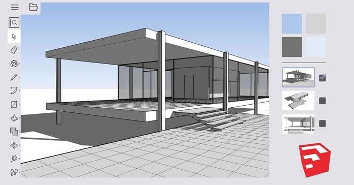 Muestra de un trabajo sencillo realizado con el programa para modelado en 3D llamado Sketchup.