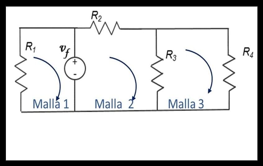 Circuito o red eléctrica con 3 Mallas