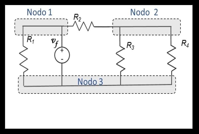 Circuito o red eléctrica con tres nodos