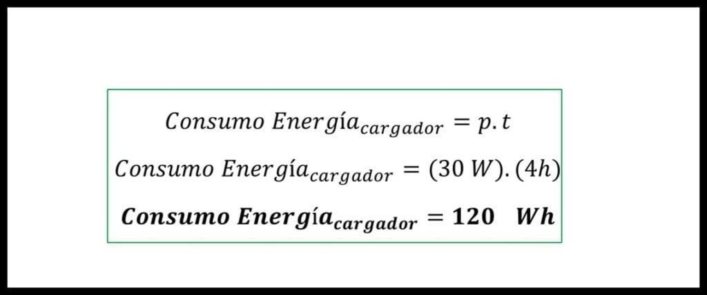 Calculo de consumo eléctrico del cargador de teléfono (ejemplo)