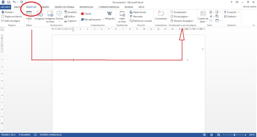 Insertar numero de pagina en word.