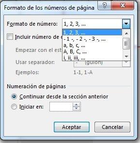 Elegir formato de numero de pagina en word.