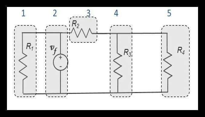Circuito eléctrico con cinco ramas