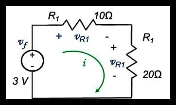 Ejercicio para determinar  corriente i y los voltajes de cada elemento
