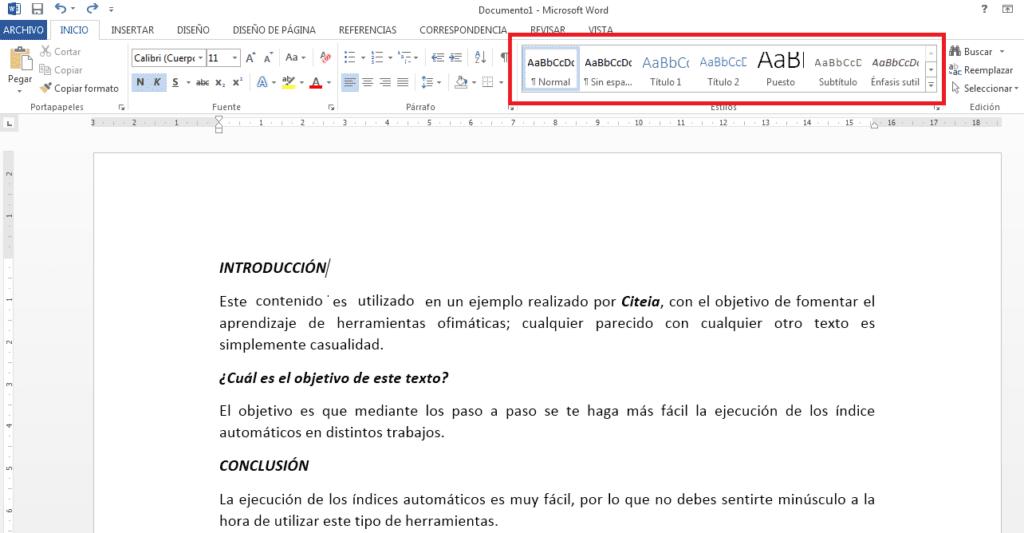 título 1 para crear índice