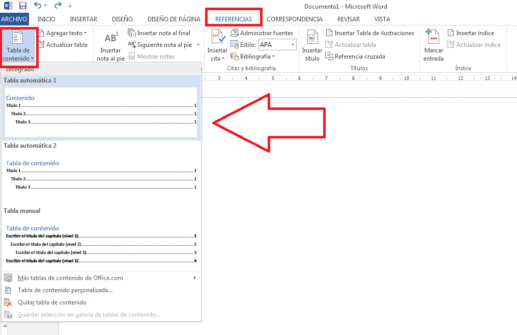 clicar la tabla de contenido para generar el índice