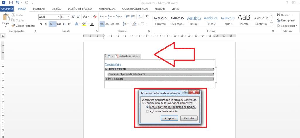 Actualizar índice automático con la opción actualizar tabla.