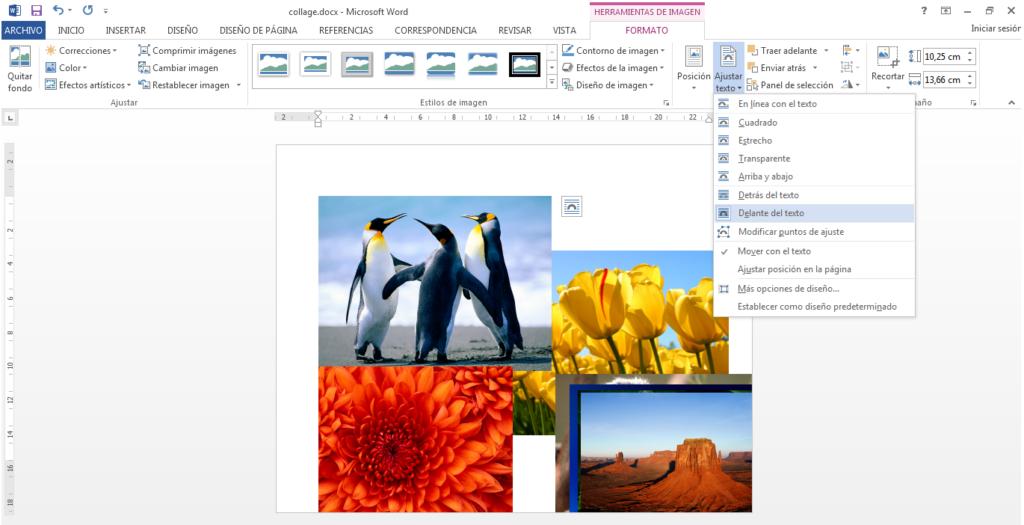 cómo hacer un collage en word paso 1